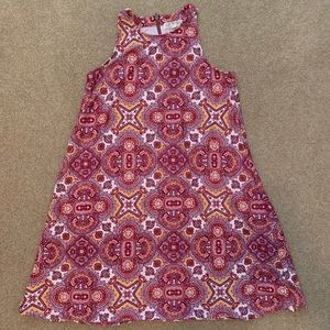 Pink Rose Red & Orange Pattern Halter Dress